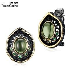 Dreamcarnival 1989 Серьги - гвоздики для женщин, готический винтажный стиль, покрытие черное золото с зелеными камнями цирконием WE3759