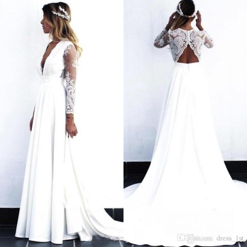 2019 Wedding Dress Plunging deep V Neck Lace Open Back A Line Long Sleeves Lace and Chiffon Beach Bridal Gown wedding dresses