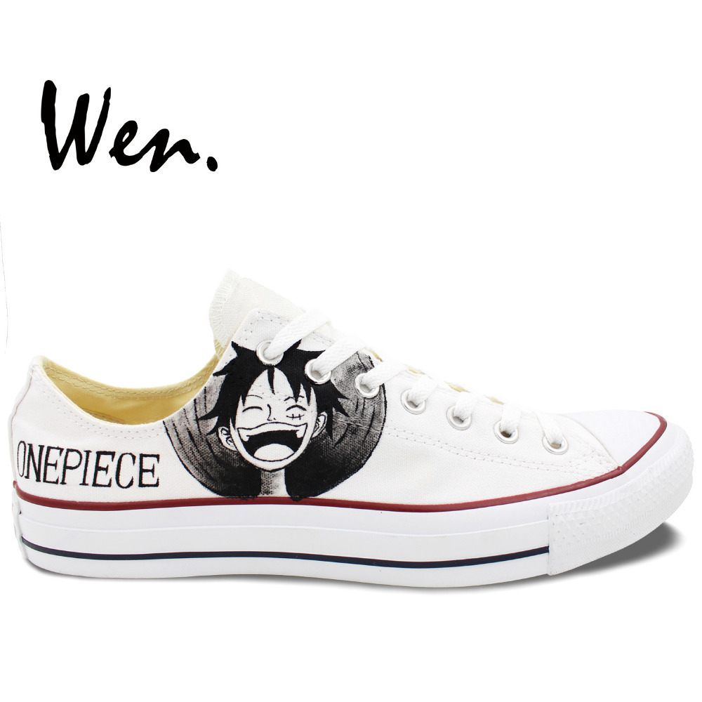 Wen White Anime Hand Painted Shoes Custom Design One Piece Luffy Zoro Men Women Low Top Canvas Sneakers Christmas Birthday Gifts wen high top shoes hand painted design custom anime code geass lelouch men women s canvas sneakers for unique gifts