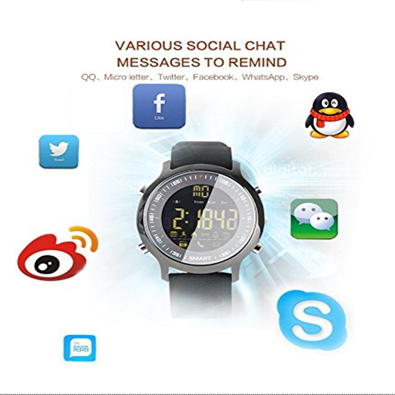 Купить с кэшбэком Sport smart watch men buzzer sound alarm monitor camera watches Luminous dial long standby for Android for xiaomi for iphone