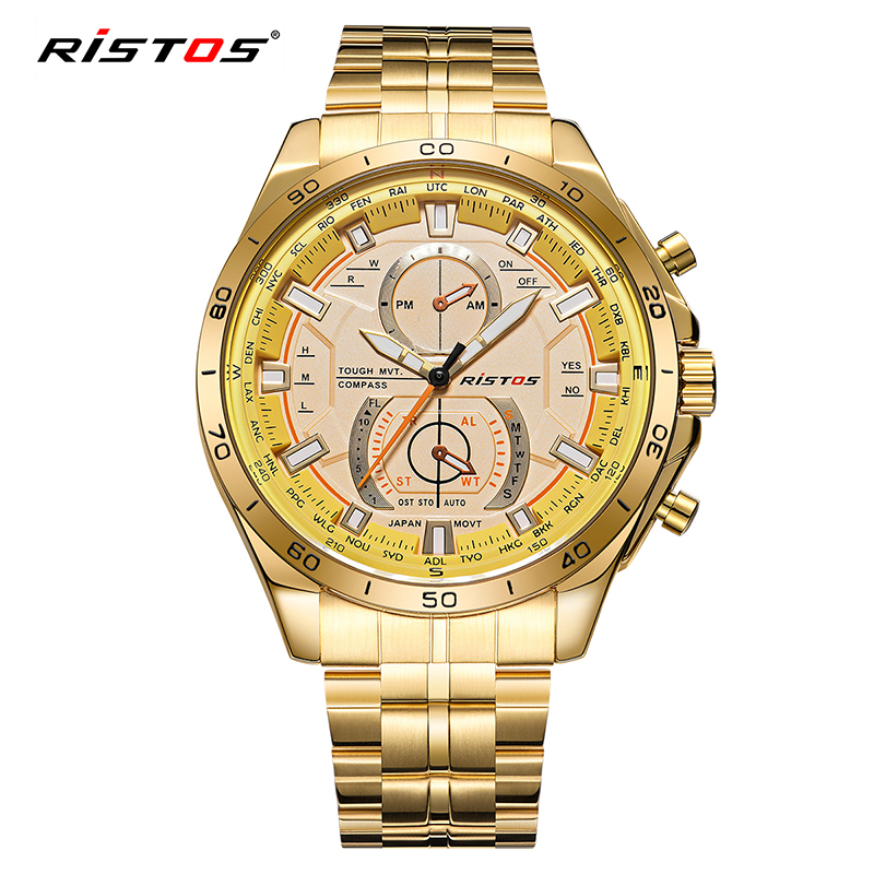 7d22ae6f2c93 RISTOS Stainless Steel Watch Reloj Masculino Extreme Sports Military Watch  2017 Wristwatch Reloj Hombre Men Quartz Watches 9325