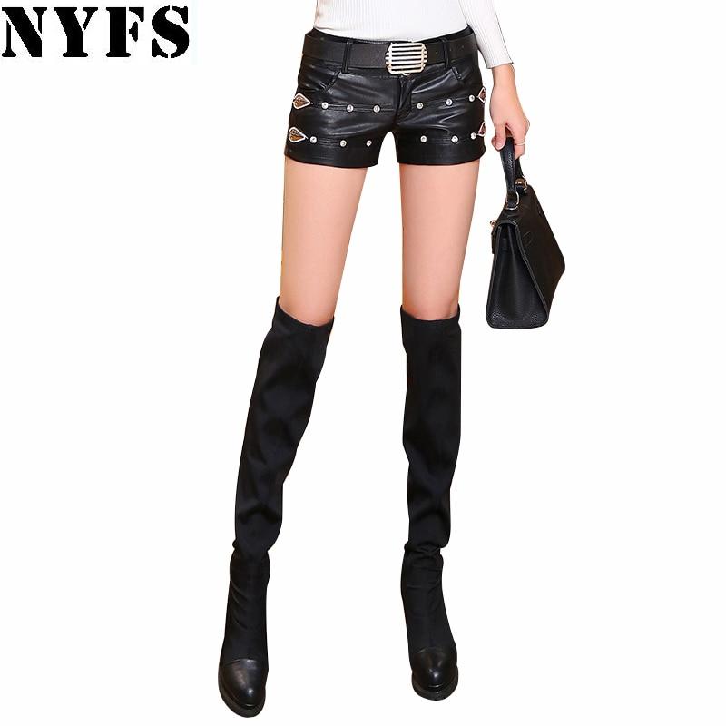 Dropshipping!2019 New Fashion Summer Women's Sexy Black PU Shorts Vintage Slim Faux Leather Shorts(No Belt)