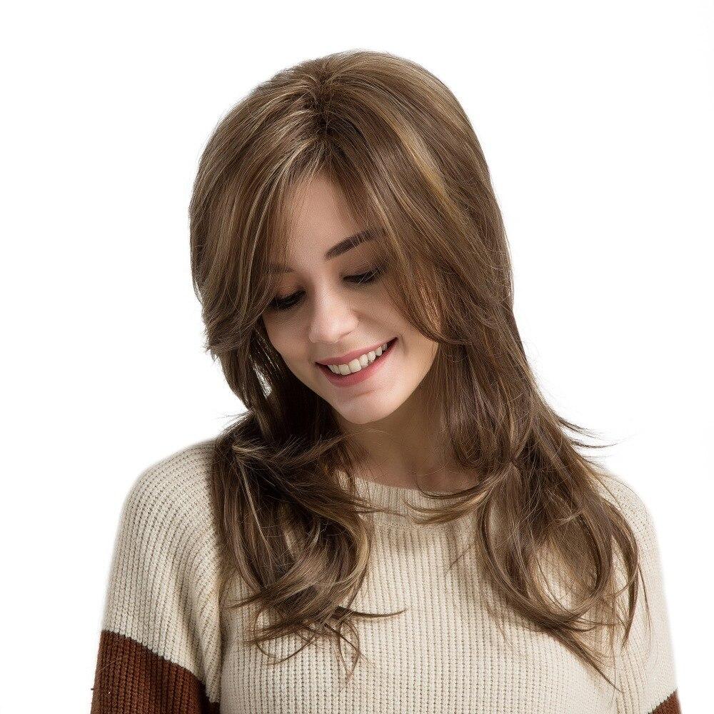 Блондинка Единорог 22 дюймов естественная волна Синтетический Поддельные волосы парик с челкой светло-коричневый выделяет искусственные п...