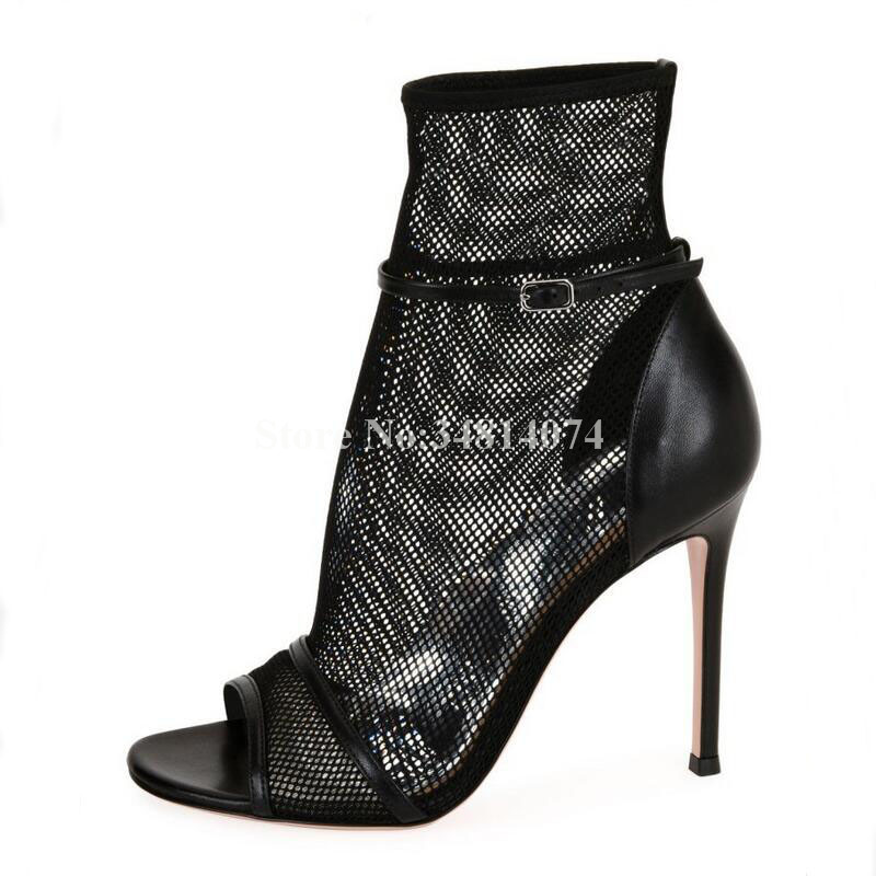 Femmes Noir Et Sexy Picture Peep Toe Nesest Talons À Décoration 2019 As as Mode Picture Boucle Printemps Mince Hauts Maille Bottines tSwqn5nB
