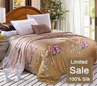 С принтом 100% тутового натурального шелка кашне/одеяло, для весны и лета дома King/Full/queen двуспальная кровать размеры