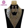 Últimas Cuentas De Cristal Nigeriano Boda Africana Conjunto de Joyería de Fantasía Collar Babero Para ALJ264 Nupcial 2016 Diseño Caliente Del Envío Libre