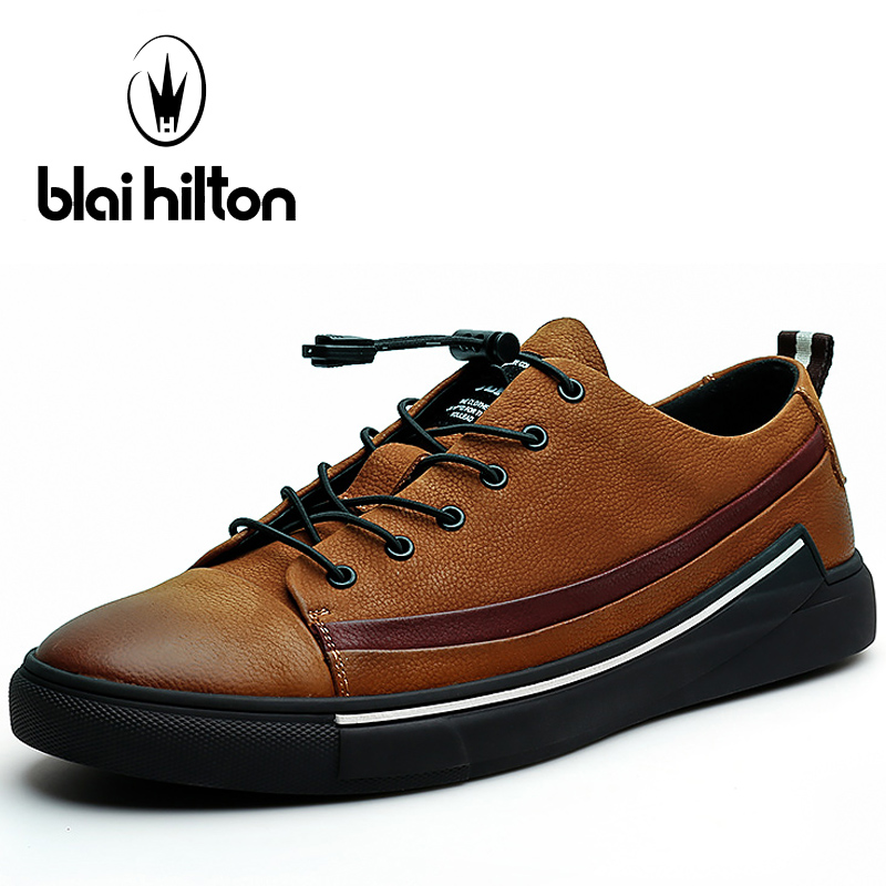 Blaibilton Genuine Leather Skateboarding Shoes For Men Breathable Sport Shoes Man Brand Outdoor Athletic Walking Men's Sneakers peak sport men outdoor bas basketball shoes medium cut breathable comfortable revolve tech sneakers athletic training boots