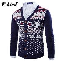 T Bird Sweater Men 2017 Brand Concise No Shirt Sweater Cardigan Male Printing Slim Mens Cardigan