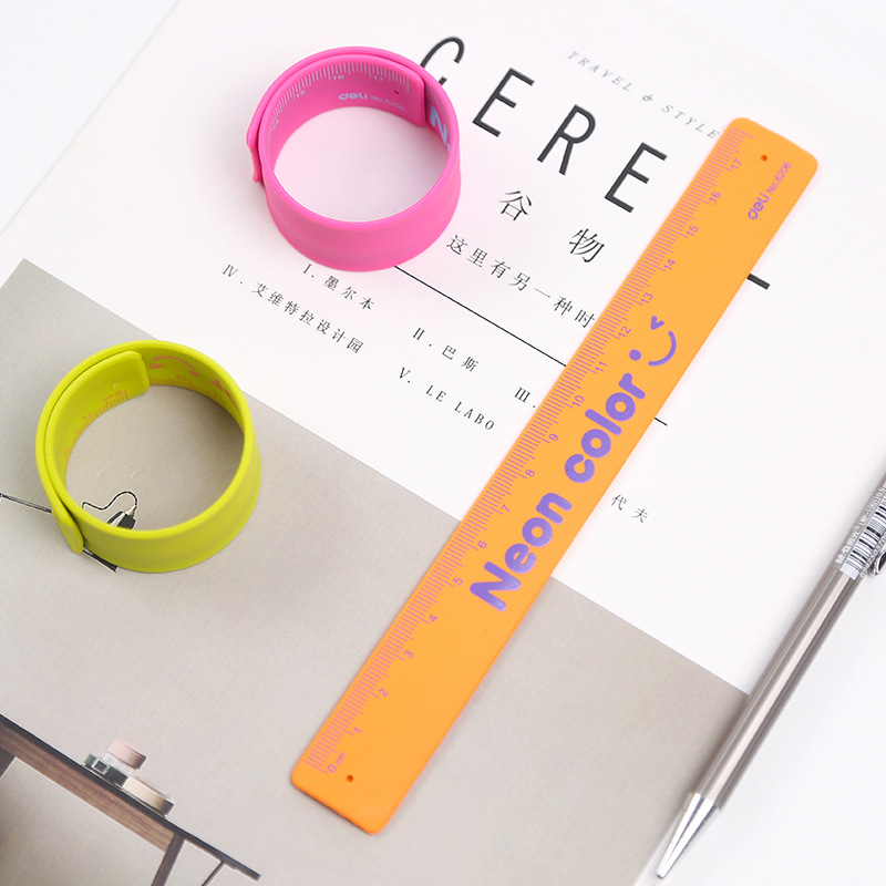 1X Colourful Wristband Ruler Silicone Foldable Measuring Ruler School Office Supply Kids Metric Tool Gift