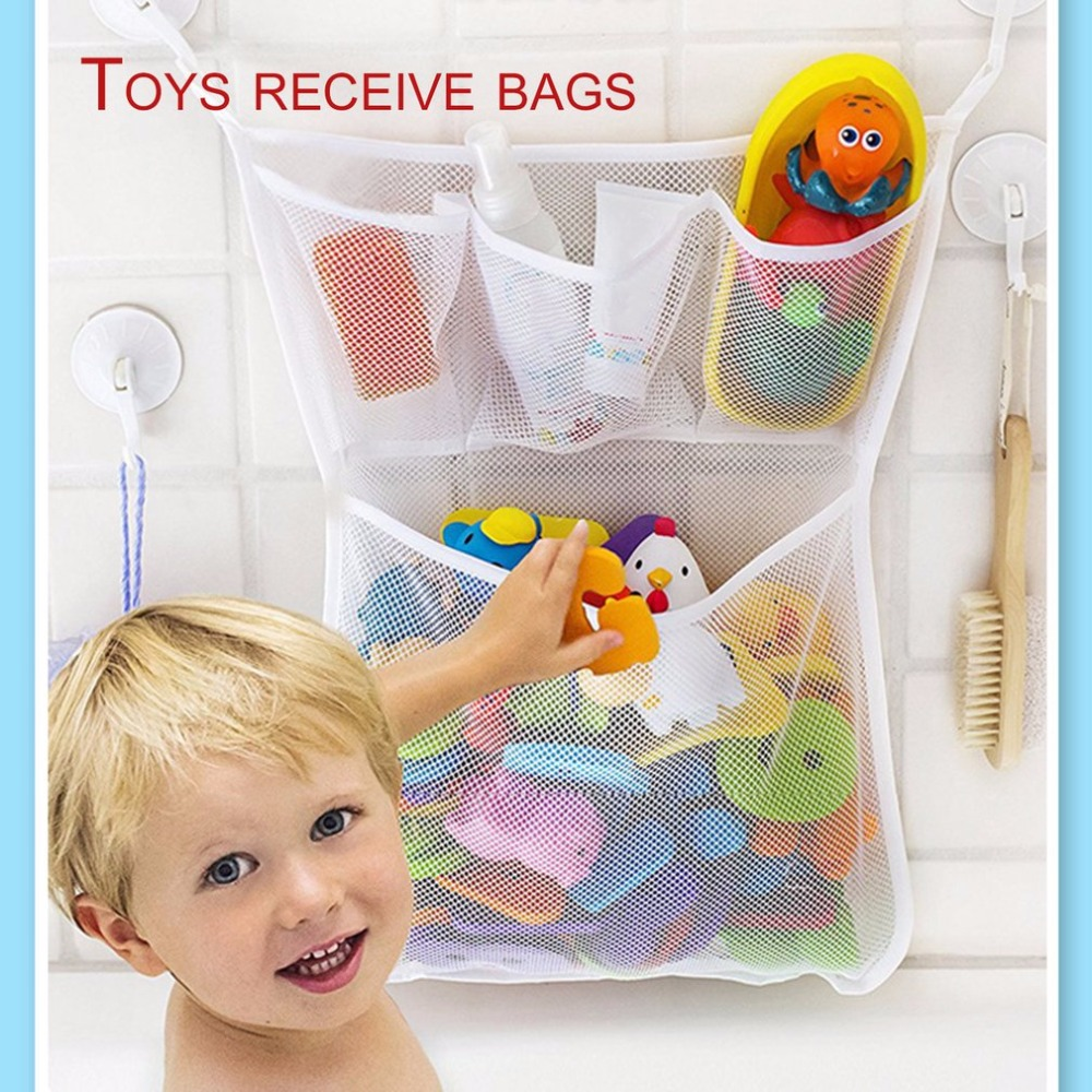 Bathroom Hanging Storage Bag Mesh Net Kids Baby Bathtub Toy Holder Organizer Polyester With Strong Suction Cup Drop Shipping