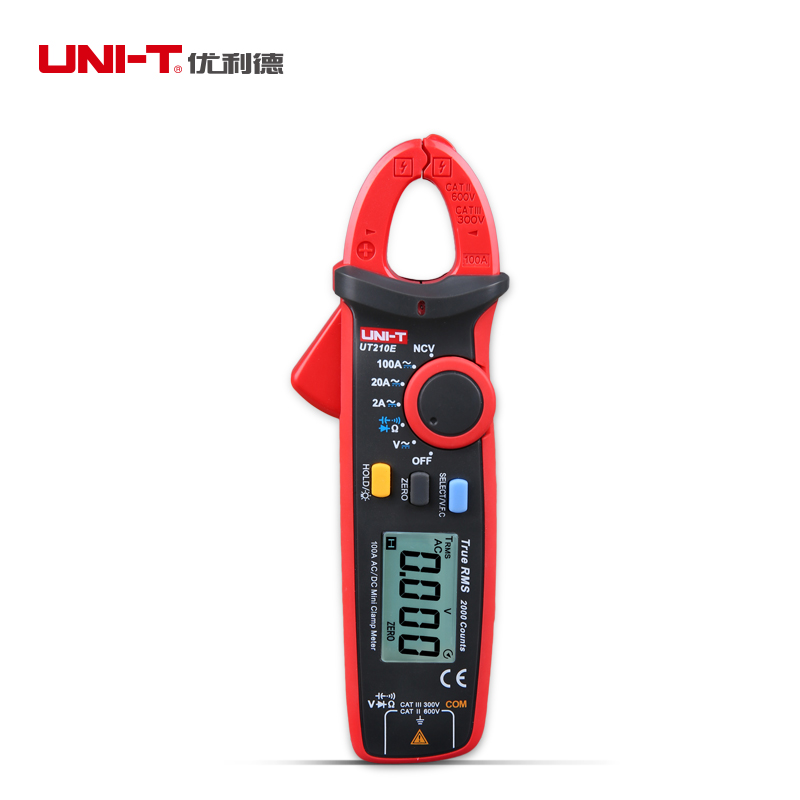 Ultra-portable UNI-T UT210E Clamp Meter Multimeter AC 2A/20A/100A DC600V With Auto Range True RMS VFC Current Voltage Tester uni t ut205 ture rms auto manual range digital handheld clamp meter multimeter ac dc voltage aca test tool
