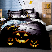 3D Black Skull Bedding Set Halloween Style Bed Sheet Queen King Double Linen Cotton Blend Flower Duvet Cover