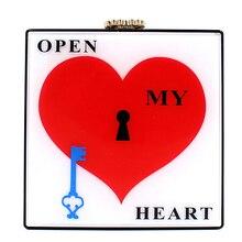 Прозрачный акрил в форме сердца — в форме ключ цепь наплечная сумка дамы сцепление вечернее мешок сумка-мессенджер через тело