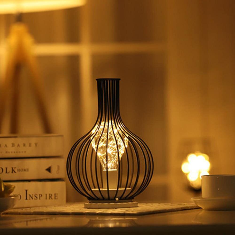 Led Retro Lamp Ijzeren Tafel Winebottle Koperdraad Nachtlampje Creatieve Hotel Home Decoratie Bureaulamp Night Lamp Batterij Aangedreven Led Night Lights Aliexpress