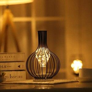 Image 4 - LED Retro Lamp Ijzeren Tafel Winebottle Koperdraad Nachtlampje Creatieve Hotel Home Decoratie Bureaulamp Night Lamp Batterij Aangedreven