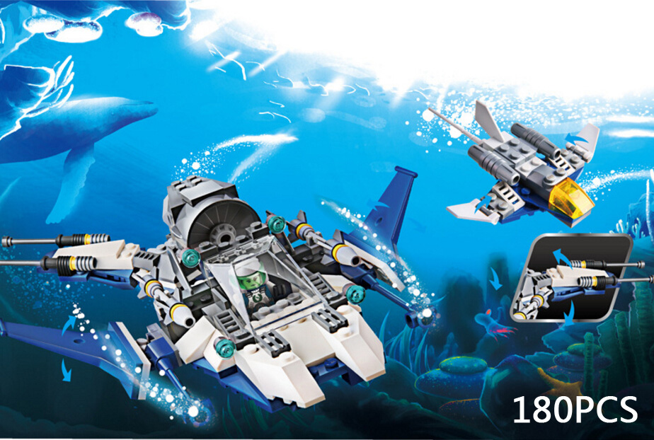 Future miliary Manta Ray Deep sea fighter Submarine building block model army soldiers figures bricks toys for boys gifts ancient knight 28pcs set soldiers and horses medieval model toy soldiers figures