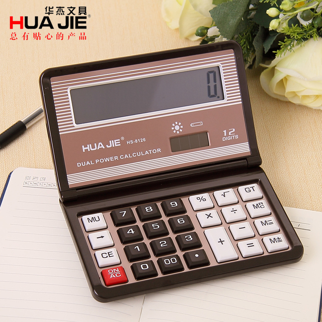 Solar 12 Digits Dual Portable Calculator Fold Office Supplies Series Accounting Business Gift