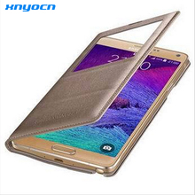 For Samsung Note 4 Case Open Window Case For Samsung Galaxy Note 4 Touch Quick View Case Flip Leather Cover Case SM-N910 N910F