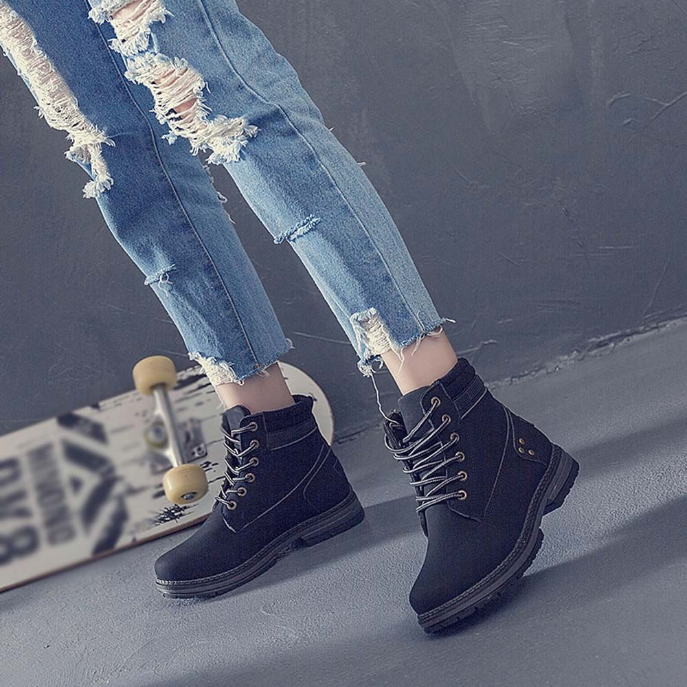 Women Boots Solid Lace Up Casual Ankle Boots Round Toe Shoes Student Snow Boots Classic Winter Warm Ladies Shoes T## 3