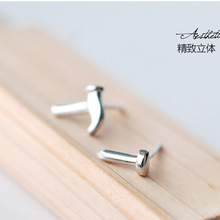 New Arrivals Hammer and Nail Asymmetric Stud Earrings 925 Sterling Silver Earrings For Women Jewelry Pendientes Brincos