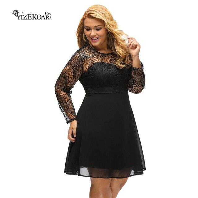 68e5ae79b6c41 2018 Women Elegant Vintage Black Boohoo Plus Size Lace Top Skater Dress  Casual Work Party A-Line Mini Dress Robe Femme DL22870