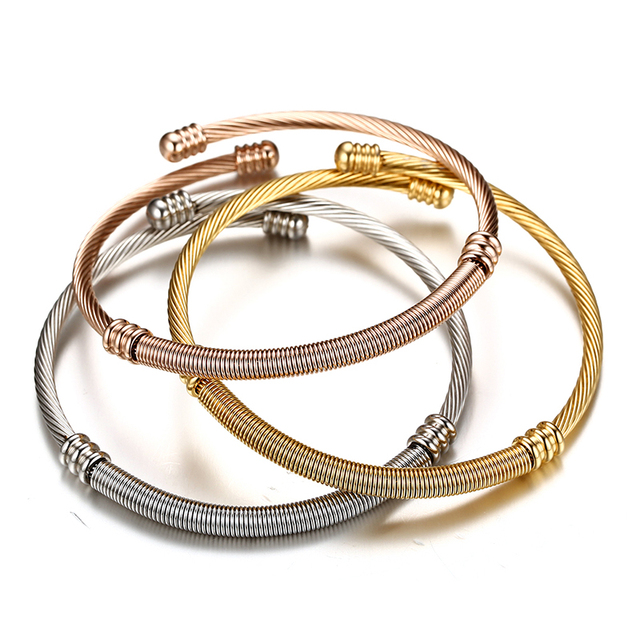 8b138e918b6 Stainless Steel Triple Three Cable Wire Twisted Cuff Bangle Bracelets Set  for Women Adjustable Bangle Bracelets 3 Colors
