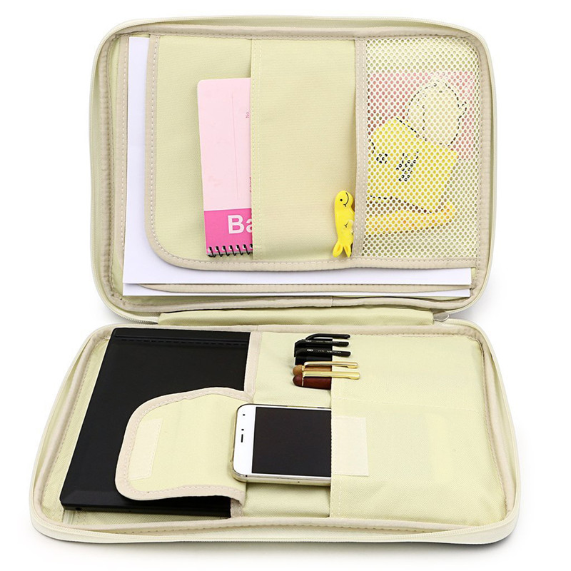 Multi-functional A4 Document Make Up Bags Filing Products Portable Waterproof Bag For Notebooks Pens Computer Briefcase