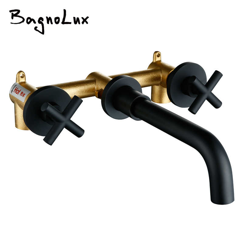 Taps Top Fashion New Arrival Wall Sink Basin Mixer Tap Set Bathroom Spout Faucet With Double Lever In Matt Black/Polished Gold