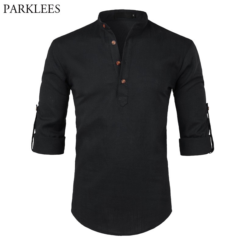 Black Cotton Linen Shirt Men 2018 Autumn New Rolled Up Sleeve Mens Casual Dress Shirts Slim Fit Henley Shirt Male Chemise Homme