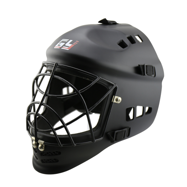 PE inner  floor ball helmet sports  field hockey helmet  with steel cage and ABS outshell shell face shield