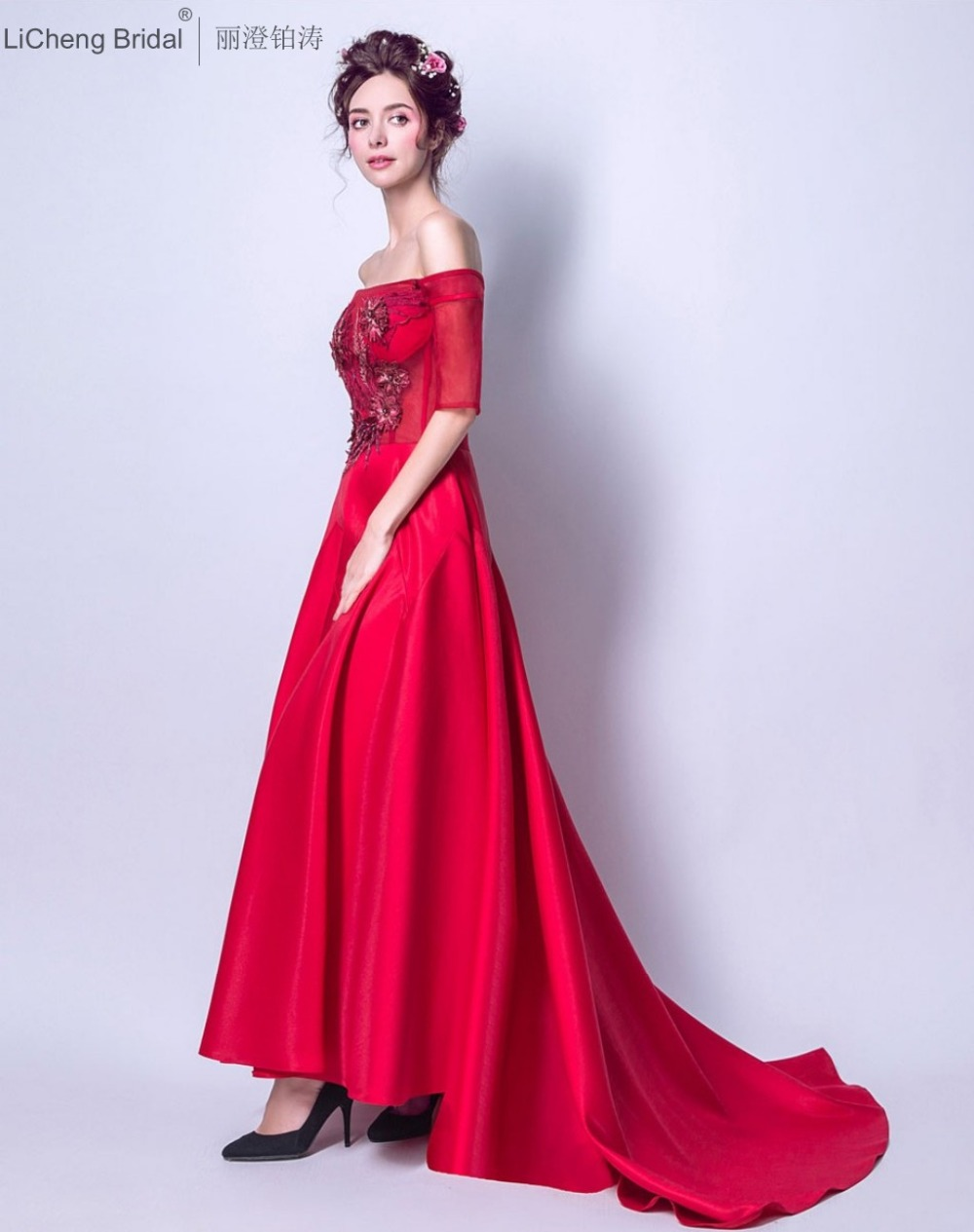 Aliexpress buy fast shipping red bridesmaid dress long aliexpress buy fast shipping red bridesmaid dress long beaded appliques women dress off shuolder party dresses 2017 robe de soiree from reliable red ombrellifo Image collections