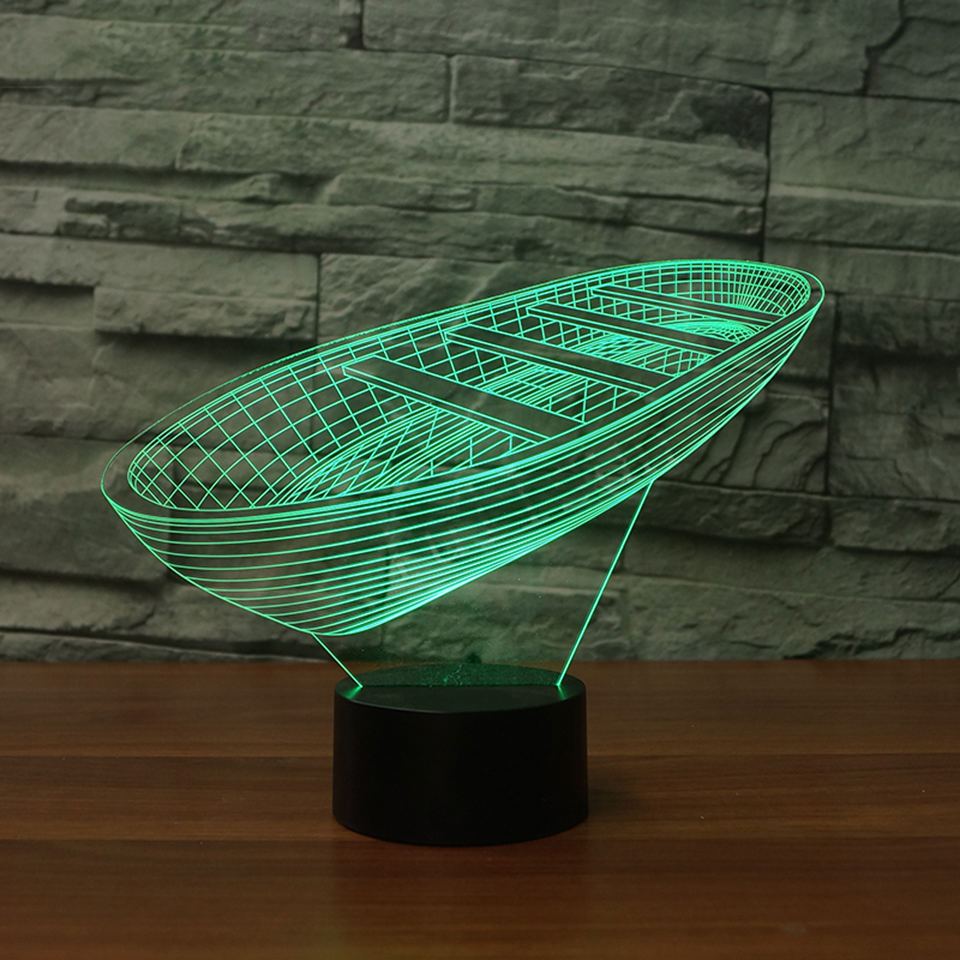 3D LED Children Bedroom Bedside Table Lamp Touch Switch Boat Modelling USB Night Lights LED Ship Luminaria Office Lighting Gifts