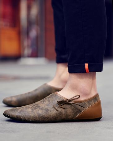 En La Cuir De Chaussures Paresseux marron Haricots Tous Hommes Tendance 2018 Coréenne Version Les gris Nouveau Beige Britannique Personnalité D'été xO68E4w