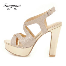 Fanyuan Fashion Ankle Strap platform Sandals Summer Buckle High Heels Solid Cross-Strap Bling Women Shoes Chaussures femme