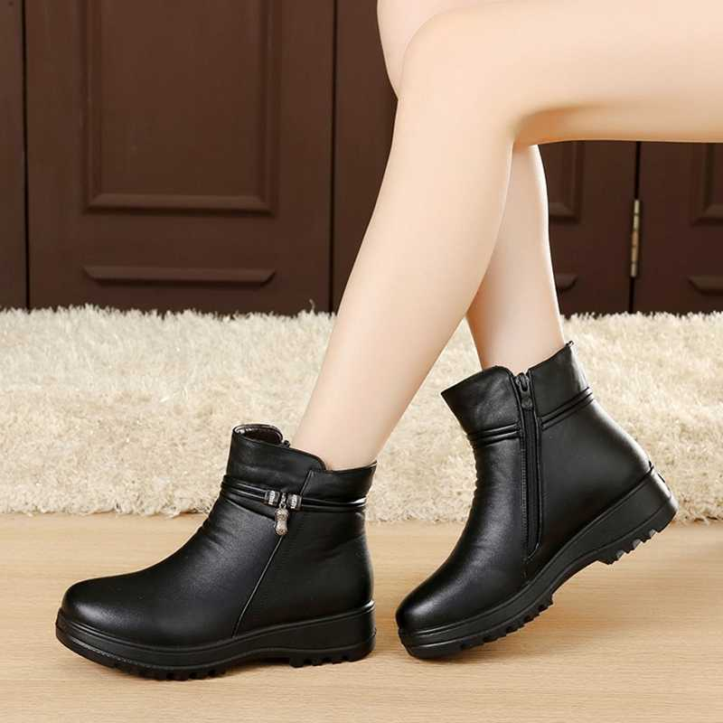 Masorini Fashion Musim Dingin Sepatu Kulit Pergelangan Kaki Sepatu Flat  Kasual Nyaman Hangat Wanita Sepatu Bot bcb92f3d1d