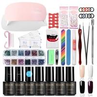 ROSALIND 7ml Set For Manicure Nail Art Tools Cure Manicure Kit UV Nail Gel Polish Any 4 color Soak Off Nail Varnish