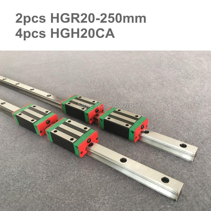 2 pcs linear guide HGR20 250mm Linear rail and 4 pcs HGH20CA linear bearing blocks for CNC parts 2 pcs linear guide hgr20 1100mm linear rail and 4 pcs hgh20ca linear bearing blocks for cnc parts