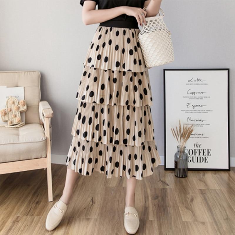 2019 Spring Summer Long Skirts Women Korean Fashion Elastic High Waist Cake Layered Ruffle Polka Dot Skirts Pleated Midi Skirt in Skirts from Women 39 s Clothing