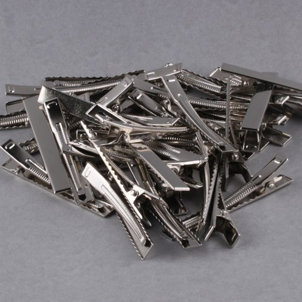 32mm/35mm/40mm/45mm/55mm/65mm/75mm/95mm Single Prong Metal Alligator Hair Clips Hairpins Korker Bow 50pcs In 1 Set MH88