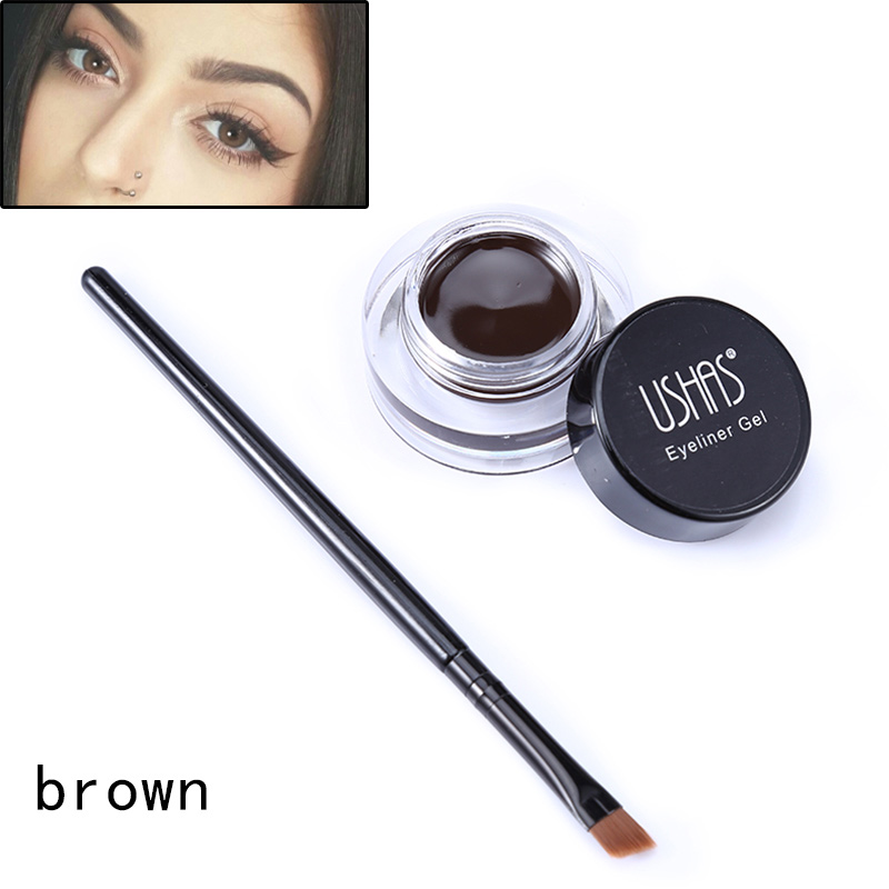 Smooth Pigment Gel Eyeliner Natural Brown Color Eyeliner Gel with Brush 2 Colors Available
