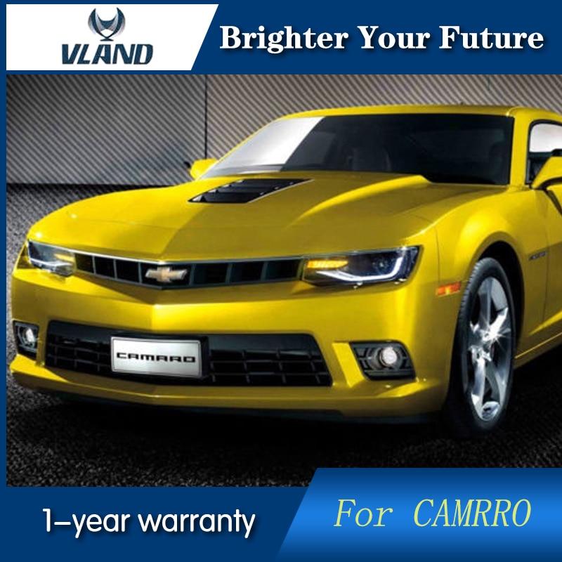 2 pièces Feux Avant pour Chevrolet Camaro Phares 2014 2015 LED Bande Lampe Frontale bi-xénon Lentille Projecteur LED DRL