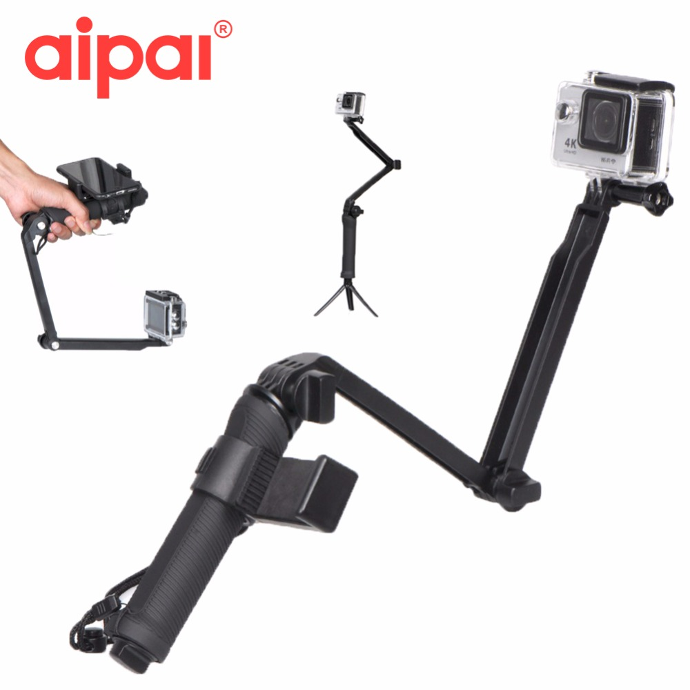 AIPAL Collapsible 3 Way Monopod Mount Camera Grip Extension Arm Tripod Stand Action Camera Accessories for