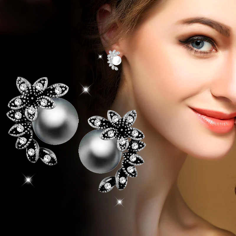 SINLEERY Hot Fashion Gray White Pearl Earrings Stud Antique Silver Color Zircon Leaf Shape Jewelry For Women Girl Es525 SSC