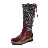 Новая женская обувь зима корова кожаные сапоги до середины икры Обувь на среднем каблуке в стиле ретро с вышивкой Для женщин сапоги в богемн
