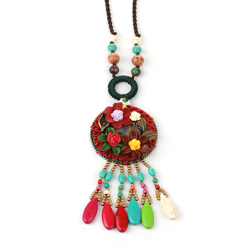 WEIXY New Original Sweater Chain Retro Ethnic Autumn Winter Necklace Coral Flower Hand-knitted Jewelry Christmas Gift for Women