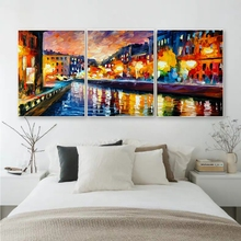 Laeacco Watercolor 3 Panel Abstract Wall Art Night Scene  Posters and Prints Canvas Painting For Living Room Home Decor