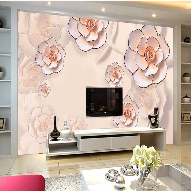 living pink rose embossed wall pastoral dream background mural europe painting 3d