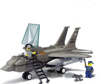 Military USA F 15 Fighter Building Blocks playmobil Educational Assembling DIY Army Bricks Toys best gifts for Children