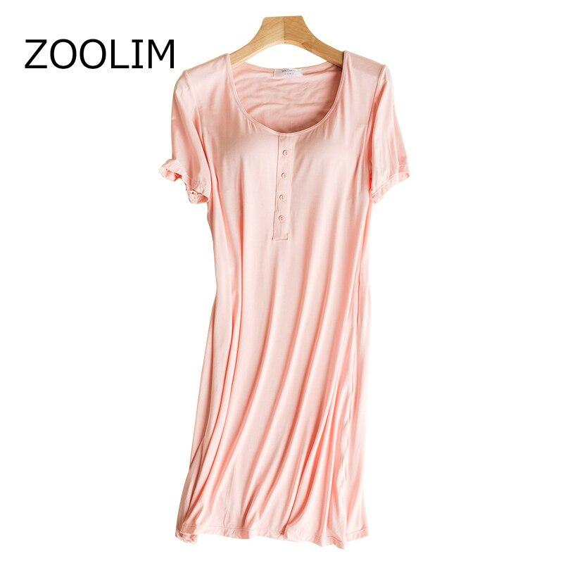7dede78be Comprar Camisa de noite Das Mulheres Sleepwear 100% Algodão com Almofadas No  Peito Modal Camisola Night Dress Stripes Falso Botão Sleepshirts Pijamas ...