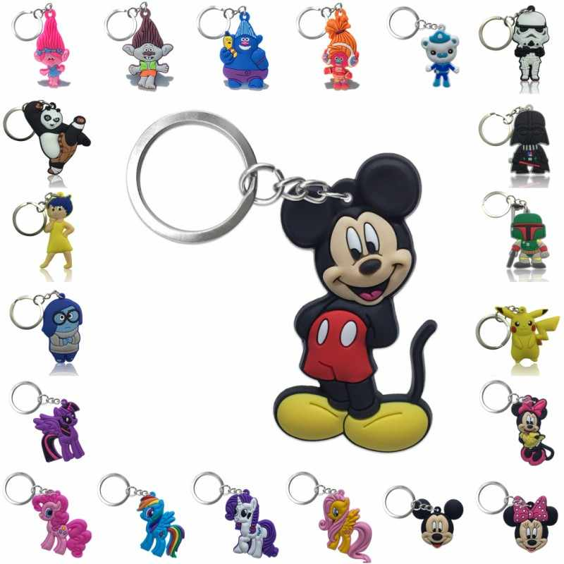 1PCS Keychain PVC Cartoon Mickey Star War Key Chain Mini Anime Figure Minnie Key Ring Key Holder Fashion Charms Trinket